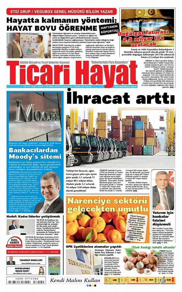 Genel Müdürümüzün Ticari Hayat Gazetesi Röportajı